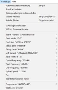 Programmiereinstellungen ESP12