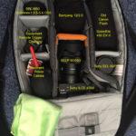 Lowepro m-Trekker BP 150: Meine Innenaufteilung mit Bezeichnungen